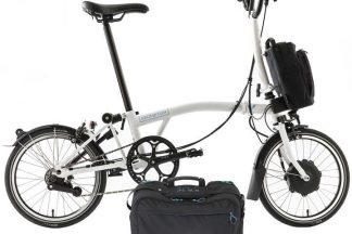 brompton m6l 2020 electric folding bike with city bag white