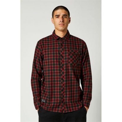 Fox Reeves Long Sleeve Button Up - Black/ Red