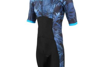 Zone3 Activate Topical Palm Short Sleeve Trisuit - Navy/Blue